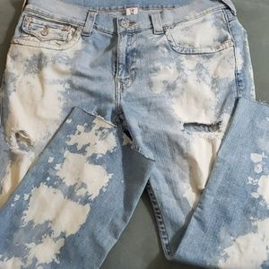 True Religion white washed straight jeans